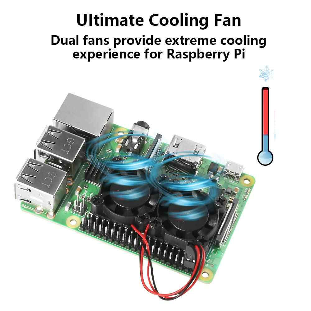 פטל Pi 4 דגם B הכפול מאוורר עם גוף קירור אולטימטיבי כפול קירור מאווררים למעבד אופציונלי עבור פטל Pi 3 /3B +/4B