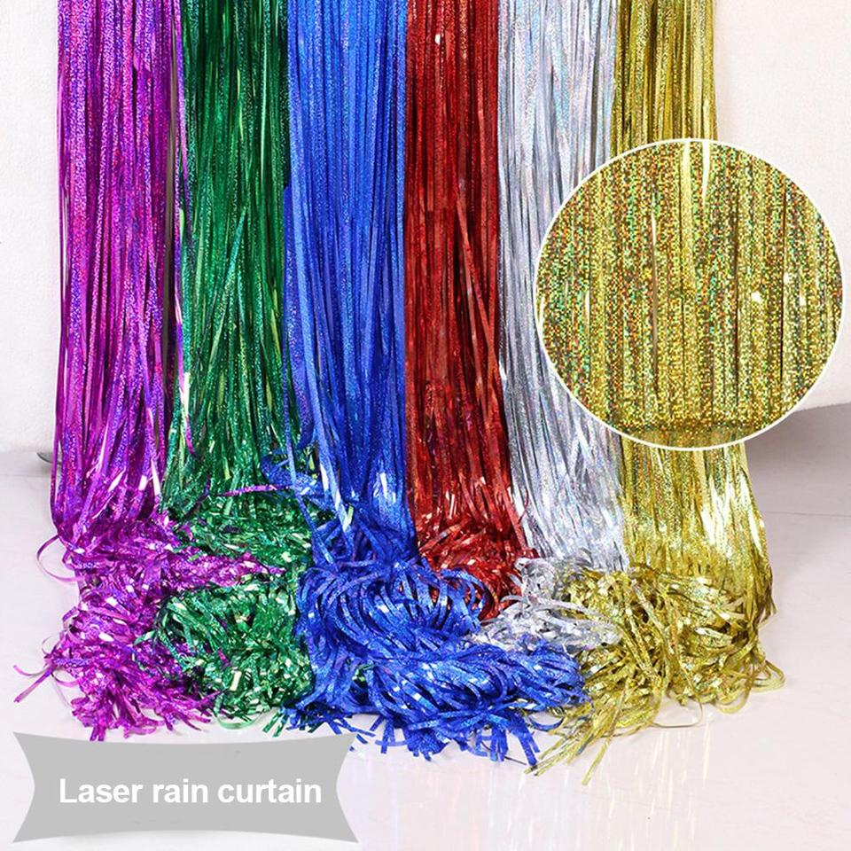 Glitter Birthday Foil Curtain Rain Curtains Tinsel Party Backdrop Laser 1Set
