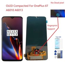 For Display OnePlus 6T A6010 A6013 LCD Touch Screen Digitizer AMOLED Compatible with One Plus 1+ 6T Fingerprint Support