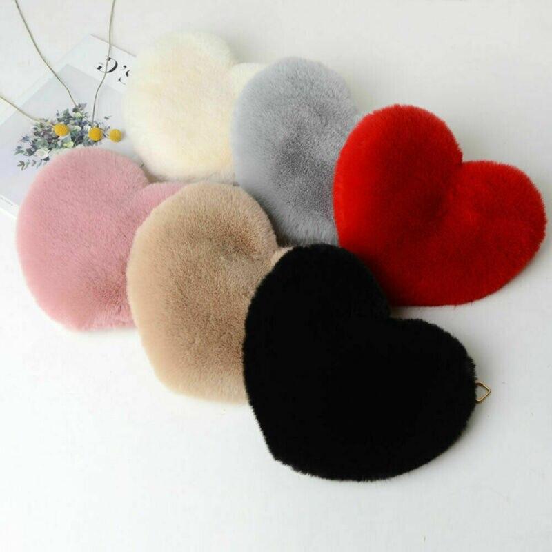 Female Fashion Heart Shaped Shoulder Bags New Solid Color Soft Plush Women Messenge Bag Ladies' Traveling Handbags Crossbody Bag