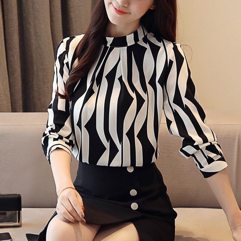 plus size tops women blouse fashion woman blouses 2018 office striped shirt chiffon blouse shirt long sleeve women shirts 7