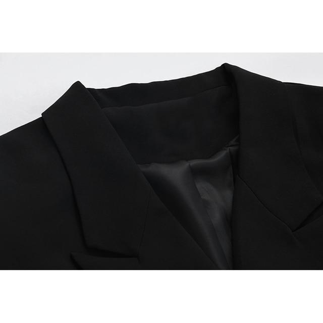 [EAM]  Women Irregular Bandage Spliced Blazer New Lapel Long Sleeve Loose Fit Jacket Fashion Tide Spring Autumn 20211DA710 4
