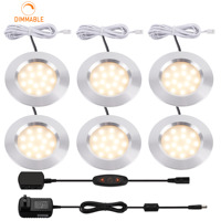 3W LED Recessed Cabinet Lights Dimmable 12V LED RV Boat Ceiling Light 3000K Warm White Ultra Thin LED Interior Lighting Kit