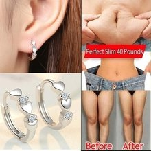Equisite Love Shape Weight Loss Earrings Silver Cubic Zirconia Magnetic Therapy Thin Earrings Chakra Burning Fat Health Jewelry