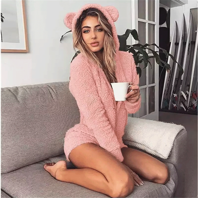 Women's Pajamas Solid Color Long Sleeve Hooded Jumpsuit Home Wear Cute Women's Rabbit Ear Cashmere Women's Adult Animal Jumpsuit