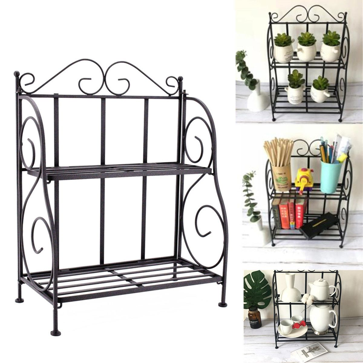 2-layers Iron Plant Stand Shelf Rack Simple Indoor Coffee Bar Garden Balcony Flower Pot Shelf Multi-use Shelf Home Decoration