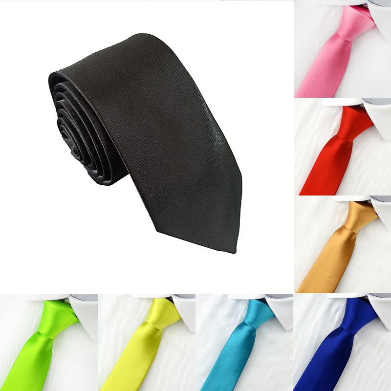 2019 Tie for Men Slim Tie Solid color Necktie Polyester Narrow Cravat 5cm width 19 colors White Black Green Red Royal Blue