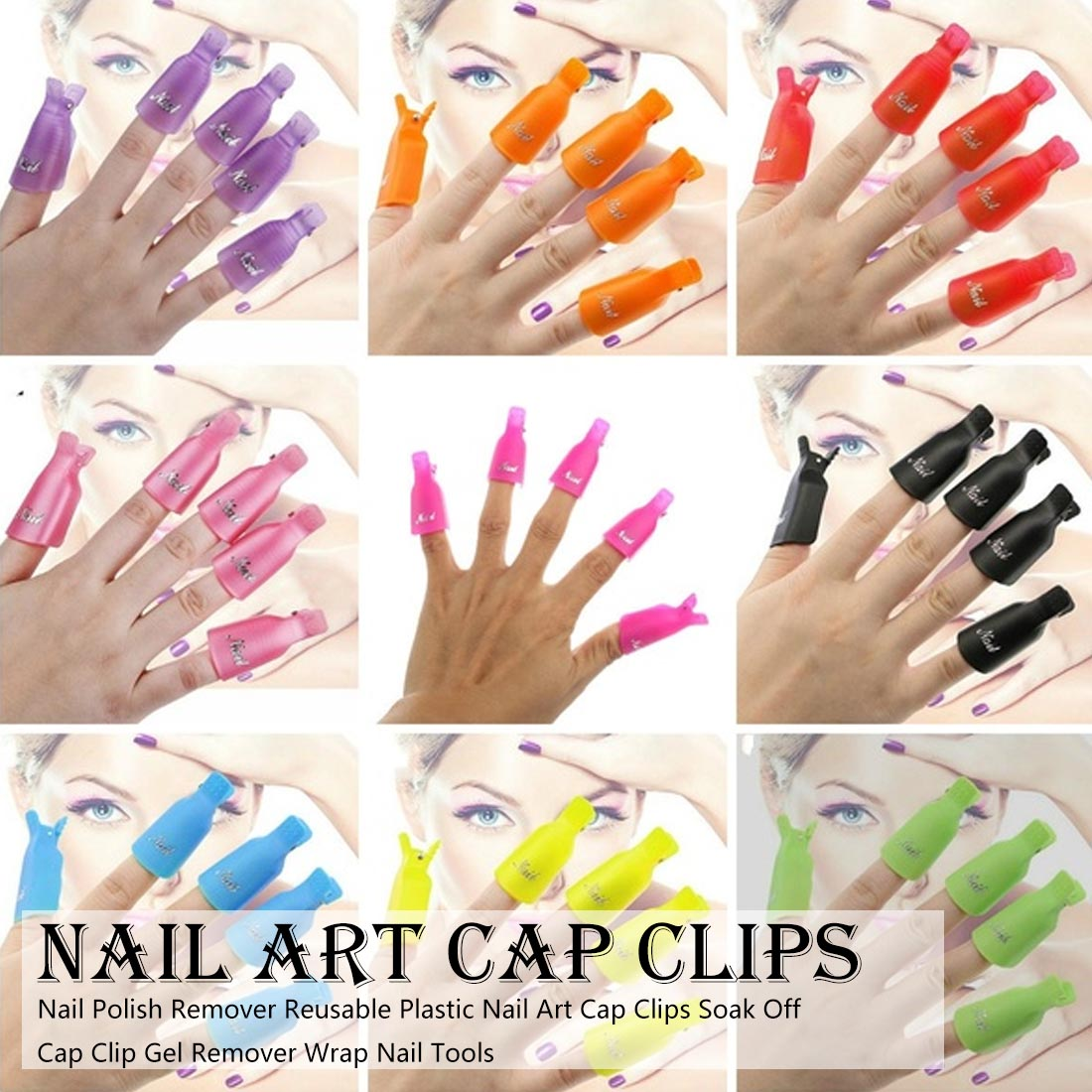 Image 3 - 10pcs UV Gel Remover Cap Clips for Gel Varnish Degreaser for Nails Manicure Clamps Plastic Acrylic Nail Art Soak Off Clip Cap-in Nail Polish Remover from Beauty & Health