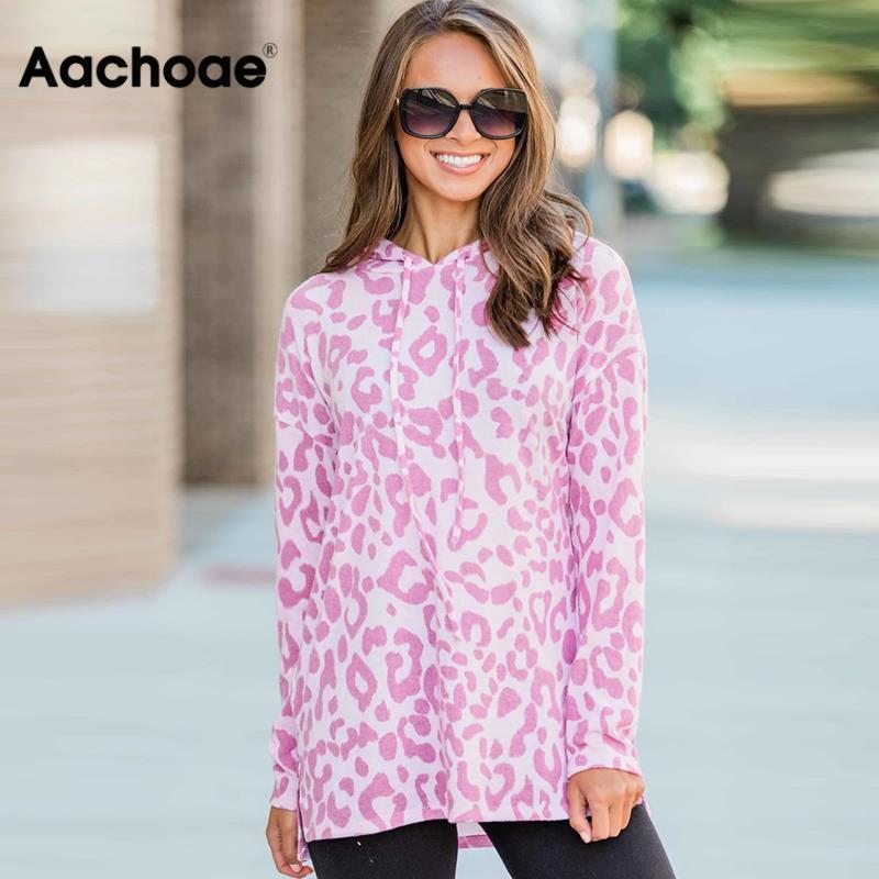 Aachoae Women Autumn Sweatshirt 2020 Leopard Print Hoodie Tops Long Sleeve Hooded Pullover Casual Loose Tunic Sudadera Mujer 1