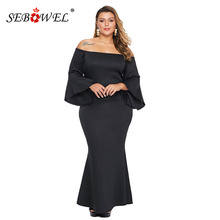 SEBOWEL New Plus Size Womans Red/Black Off the Shoulder Flare Sleeve Maxi Long Dress Elegant Female Mermaid Dresses