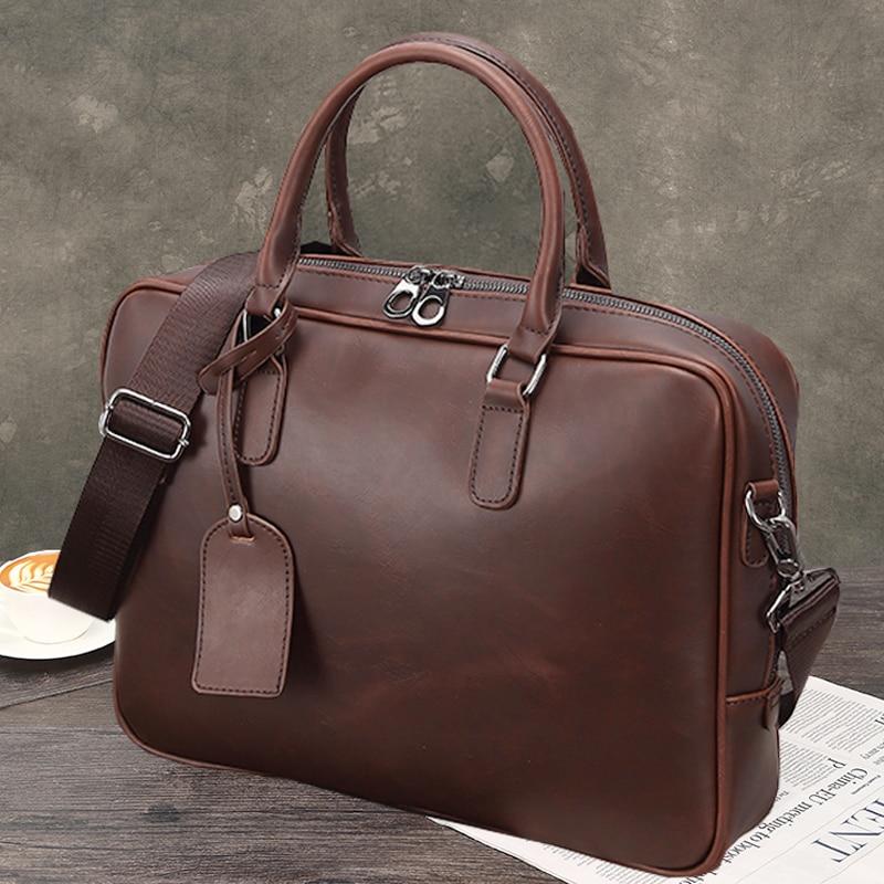 Crazy Horse Leather Men Briefcase Business Messenger Bag Quality PU Leather Briefcase Men's Bags Office Handbag Bolso Hombre