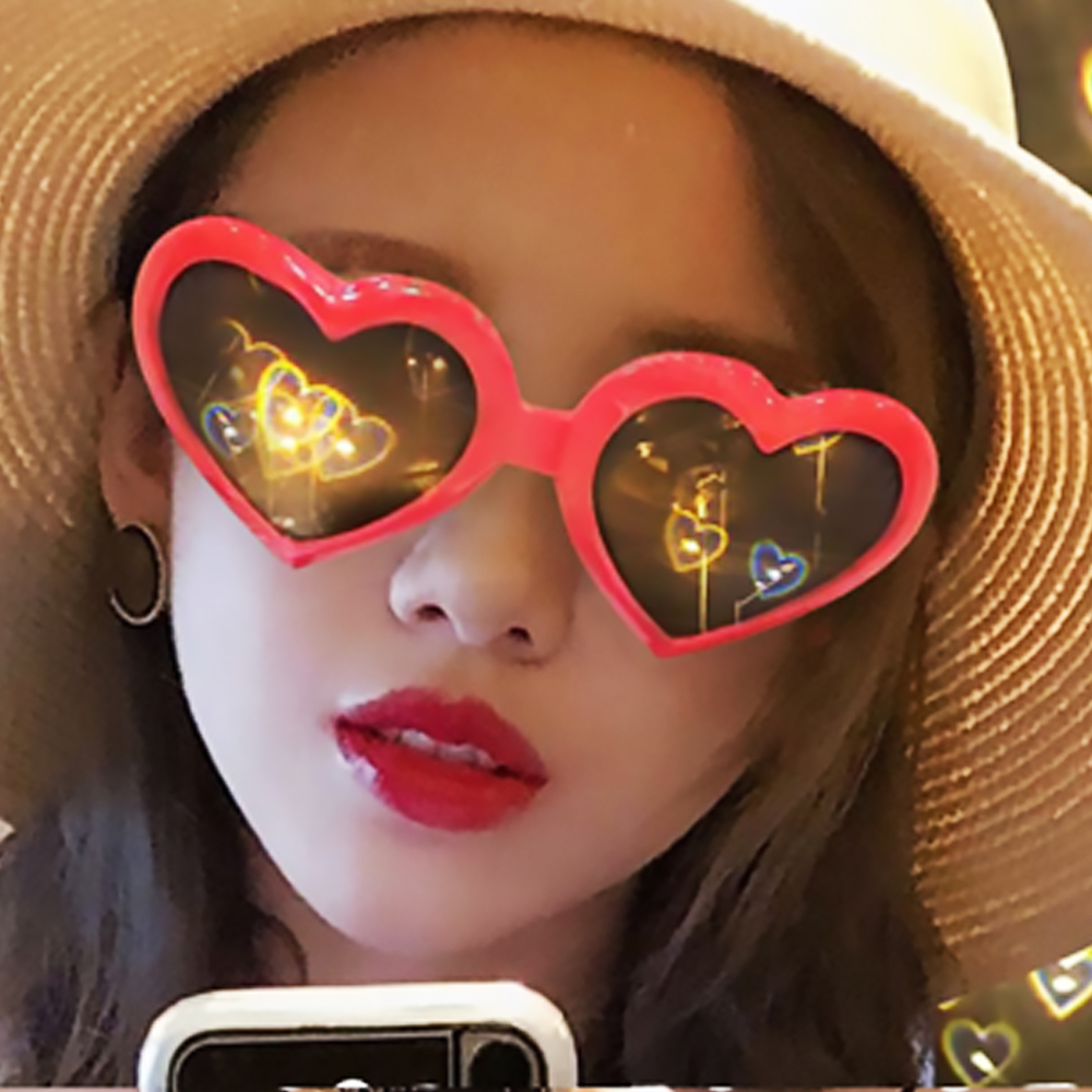 1pcs Red Heart Shape Diffraction Grating Party Rave Glasses Plastic, Orbit Light Show Fireworks Refraction EDM Laser Glasses