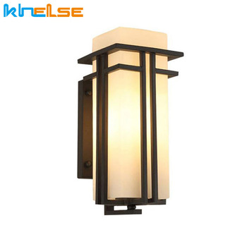 Black Outdoor Wall Lamp Metal Glass Shade Garden Lamp Exterior Wall Lights Antique Post Balcony Porch Wall Sconces Lighting
