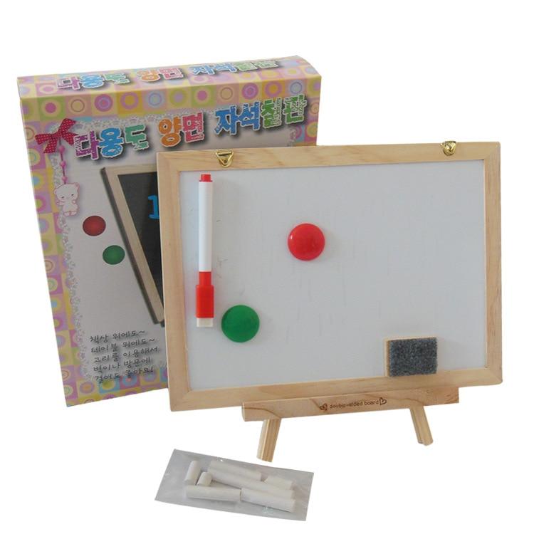 South Korea Mini Logs Double-Sided Small Blackboard Whiteboard Message Board Hangable Sketchpad Ad CHILDREN'S Drawing Board