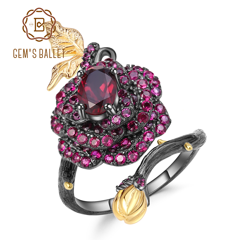 GEM'S BALLET 1.00Ct Natural Rhodolite Garnet Rose Flower Ring 925 Sterling Silver Handmade Adjustable Open Ring For Women Bijoux