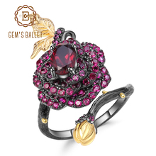 GEMS BALLET 1.00Ct Natural Rhodolite Garnet Rose Flower Ring 925 Sterling Silver Handmade Adjustable Open Ring for Women Bijoux