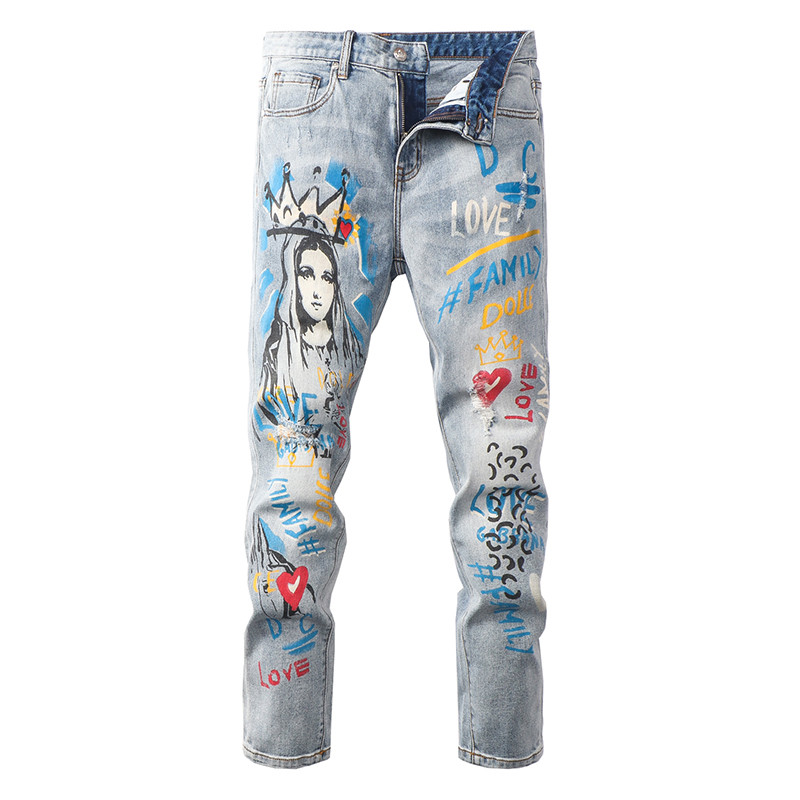 Sokotoo Men's Virgin Mary Character Letters Printed Jeans Fashion Holes Ripped Colored Painted Denim Pants