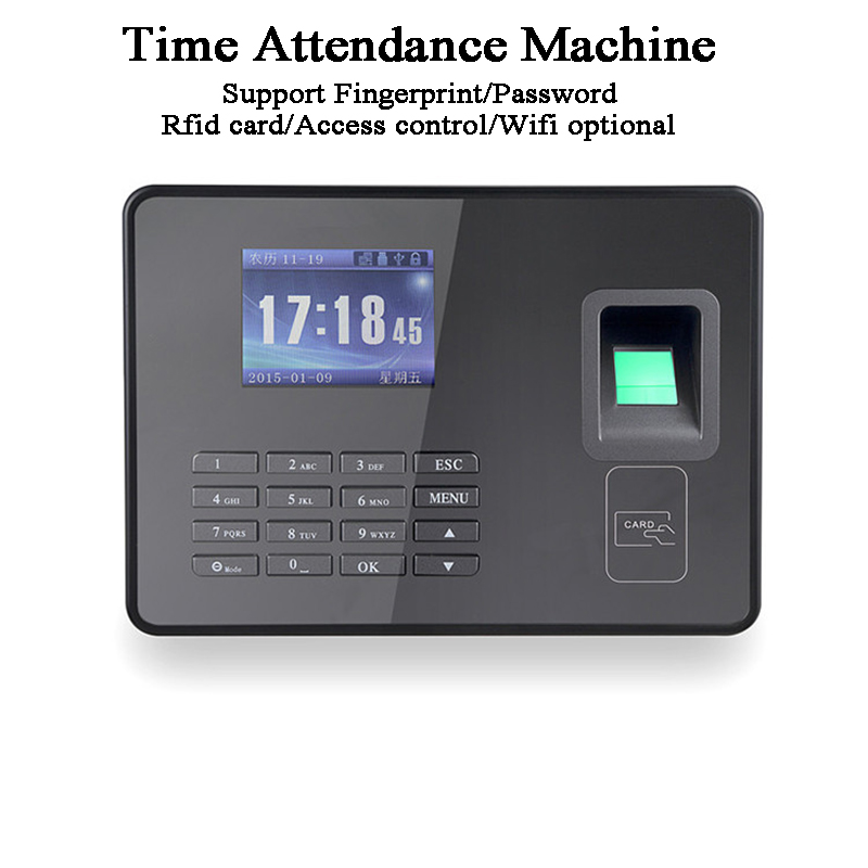 Biometric Fingerprint Password Office Time Attendance Machine DC5V USB TCP/IP BS Wifi RFID Card Access Control Optional