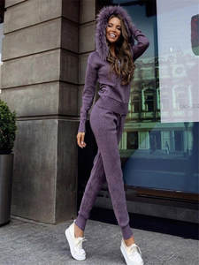 Cashmere Suit Trousers Cardigan Knitted Female Winter Fashion Woman Hooded Thick Fur