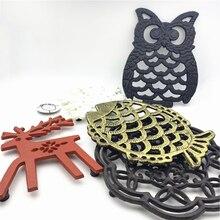 LCH nórdico estilo americano búho ciervo Pad térmico, arte del hierro Mesa Mat titular estera de la taza de hierro negro olla cojín regalo Mantel Individual para taza