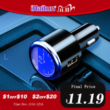Ihaitun Luxe Lcd 5A Usb Autolader Voor Samsung S9 S10 Quick Usb 3.0 3.1 Fast Charge Voor Iphone 11 huawei P30 Pro Oneplus 7 X