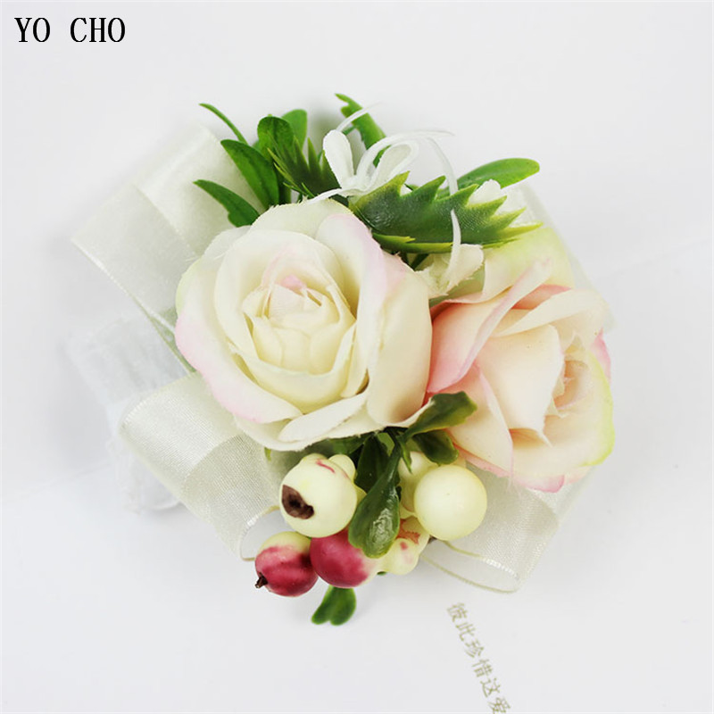 YO CHO Groom Boutonniere Pin Wedding Corsage Flower Wrist Corsage Bridesmaid Wedding Bracelet Flowers Brooch Mariage Accessories