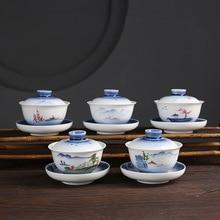 цена на Ceramic Hand Painted Tureen 3.8-Inch Shouzhua Tea Bowl Tea Kung Fu Tea Set  sopera de ceramica gaiwan chrysanthemum tea