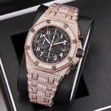 6 colors rose gold iced out Mens diamonds watch super quality iced out quartz watches chron