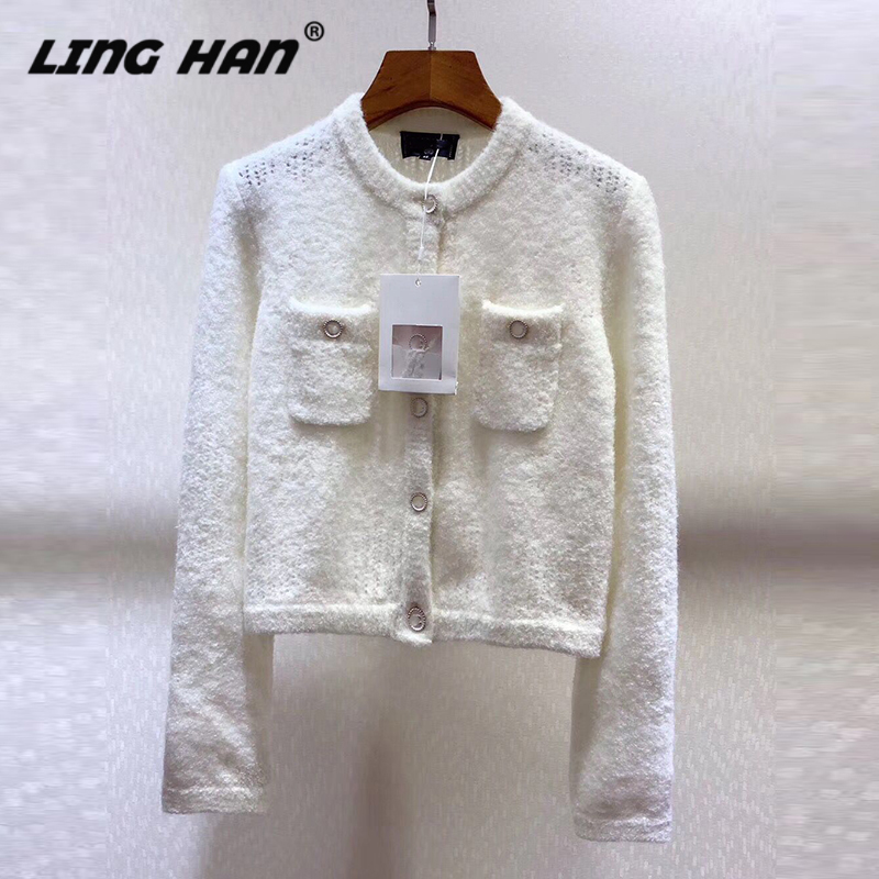 LINGHAN Fashion ButtonC Cashmere Solid Sweater Women's O-Neck Long Sleeve Knitting Cardigan Sweater Designer Early Spring New