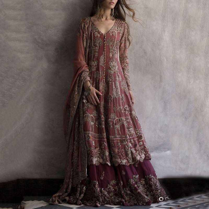 Retro Floral Embroidery Party Long Dress 2019 Fall Autumn Women Long Sleeve Tunic Floor-length Boho Holiday Vintage Maxi Dresses