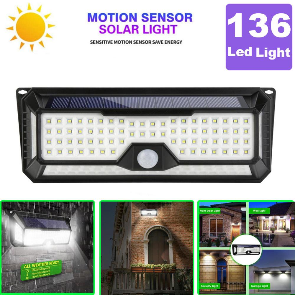 3 Mode Waterproof 136 LED Solar Garden Light Outdoors PIR Motion Sensor LED Light Solar Power Pathway Led Wall Decorative Lamp