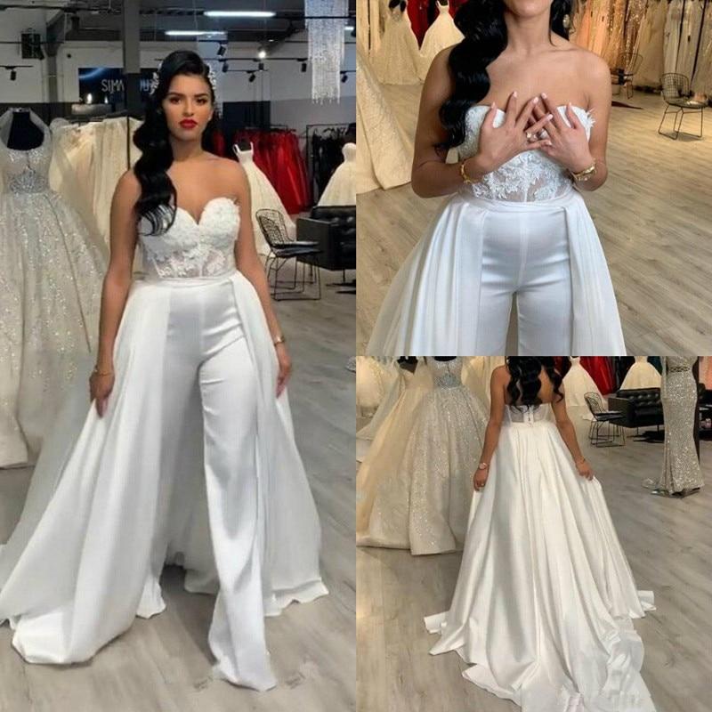 Women Jumpsuits Plus Size Wedding Dresses 2020 Pant Suits Removable Skirt Long Formal Party Gown Applique Lace Abiye Bridal Gown