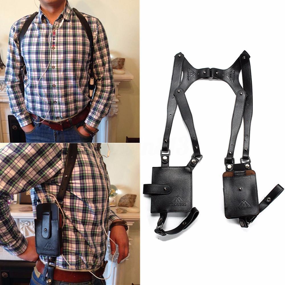 Portable Men Genuin Leather Anti-Theft Hidden Underarm Bag Holster Phone Case Card Wallet Pocket Key Purse Travel Accessories