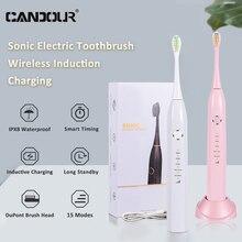 CANDOUR-cepillo de dientes eléctrico para adultos CD-5166, recargable vía USB, resistente al agua, Ultra sónico, automático, 5 modos con cepillo de dientes para viajes