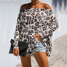 лучшая цена 2019 Autumn Long Sleeve Leopard Sexy Loose T-Shirt Flare Sleeve Casual Off Shoulder Long Sleeve T-Shirt