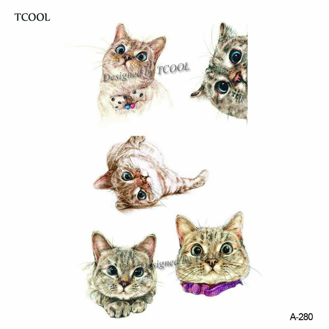 HXMAN Cat Temporary Tattoo Sticker Watercolor Animals Tattoos for Women Body Art Child Girls Hand Fake Tatoo 9.8X6cm A-279 5