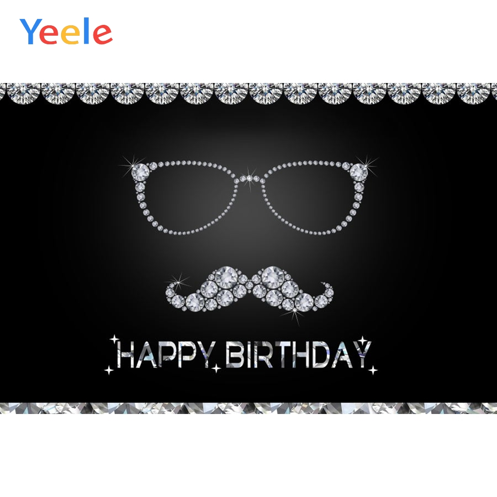 Yeele Man Happy Birthday Party Photography Backdrops Crystal Diamond Glasses Beard Photographic Background For Photo Studio