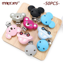 Tyry. hu 50PC Silikon Dot Klip Mickey Bulat Teether Klip Diy Baby Pacifier Dummy Tumbuh Gigi Penenang Keperawatan Perhiasan Membuat(China)
