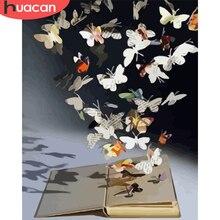 HUACAN – Kits de peinture par numéros de papillon, dessin d'animaux sur toile, images par numéros, bricolage de livres, décoration de la maison