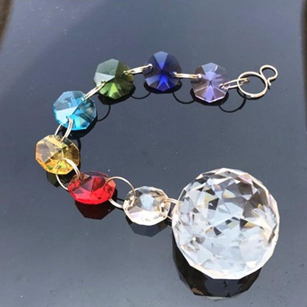 DIY Hanging Colorful Octagonal Beads Crystal Suncatcher Light String Pendant Drop Home Garden Decorative Ornament Jewelry