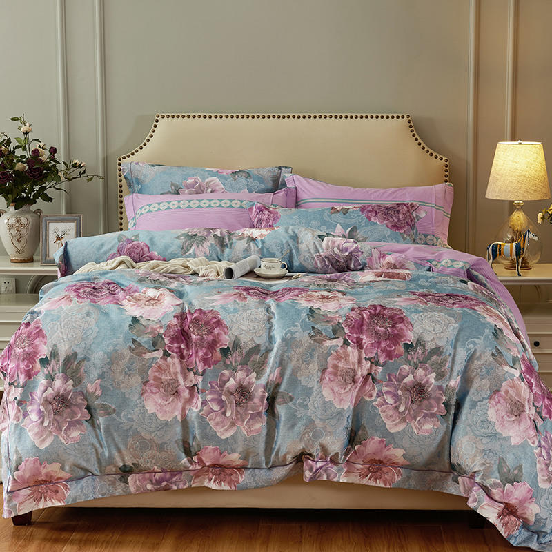 Shabby Chic Bloom Flowers Printed Bedding Set Vintage Style 100%Cotton Jacquard Duvet Cover Flat Bed Sheet Queen King Size 4Pcs