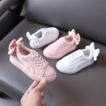 New Autumn Children Shoes Genuine Leather Big Bow-knot Toddler Girls Sneakers Breathable Fashion Casual Kids Shoes Size 21-30 cheap GT-CECD 7-12m 13-24m 25-36m 4-6y CN(Origin) Spring Autumn waterproof Anti-Slippery casual shoes Rubber COTTON Fits true to size take your normal size