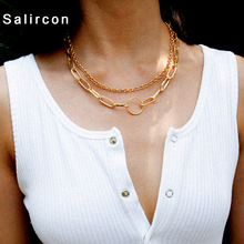 SalirCon New Fashion Women Chain Necklace Creative Geometric Alloy Necklace Double Alloy Pendant Adjustabl Necklace Party Gift delicate alloy geometric necklace for women