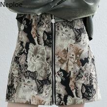 Neploe Fashion High Waist Hip A Line Skirt Retro Cat Embroidery Print Jupe Femme Autumn Spring Outwear Zipper Faldas Mujer 48683
