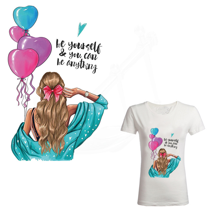 """Casual Style """"BE Yourself"""" Beautiful Girl Patches For Clothes DIY T-shirt Clothing Hoodie Thermal Transfer Sticker"""