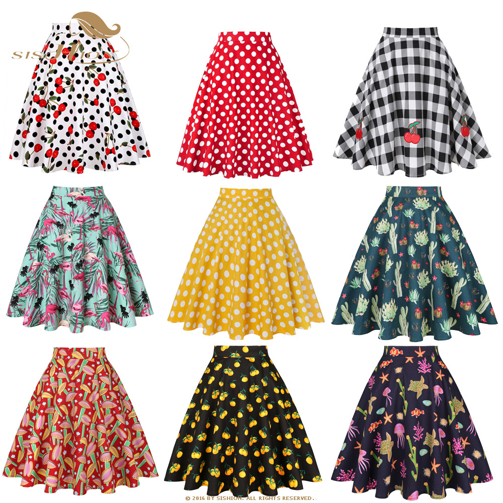 SISHION Vintage Skirts Womens VD0020 Jupe Femme 2020 High Waist Cotton Swing Retro Women Skirt Black Plaid Faldas Summer Skirt