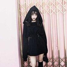 2021 nouveau automne hiver femmes gothique filles Punk Mini robe de haute qualité à manches longues épaules nues sexy robe noire robes de mode