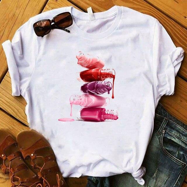 Women T Womens Graphic 3D Finger Nail Paint Color Fashion Cute Printed Top Tshirt Female Tee Shirt Ladies Clothes T-shirt 5