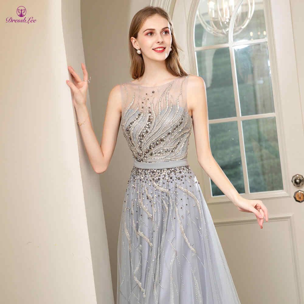 Giovanile Elegante Vestito Da Promenade 2020 A Mano-In Rilievo di Cristallo di Tulle abiti da sera Vestito Da Sera di Promenade Abiti abendkleider