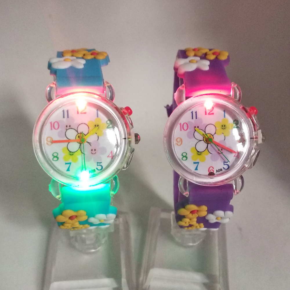 Flashing Light Source Child Boys Girls Watches Kids Electronic Colorful Glow Baby Birthday Gift Clock Children Watch 5 Flowers